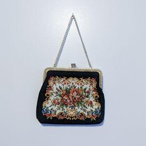 VINTAGE Clutch/Wristlet - Black Embroidered